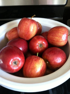 measuring the apples for crockpot apple sauce