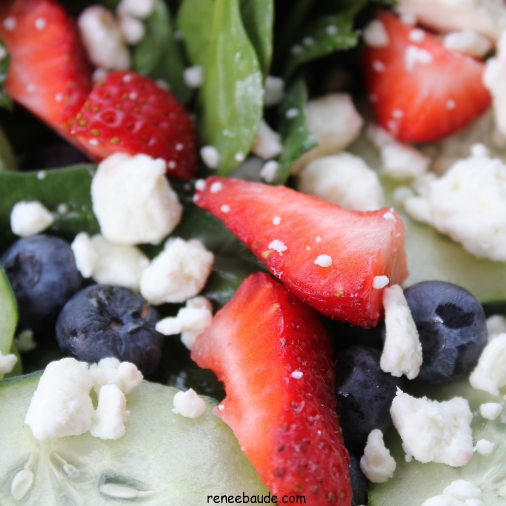 my favorite summer salad with basil, spinich, feta and fruit